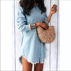 Dresses & Skirts - Distressed Chambray Button up dress